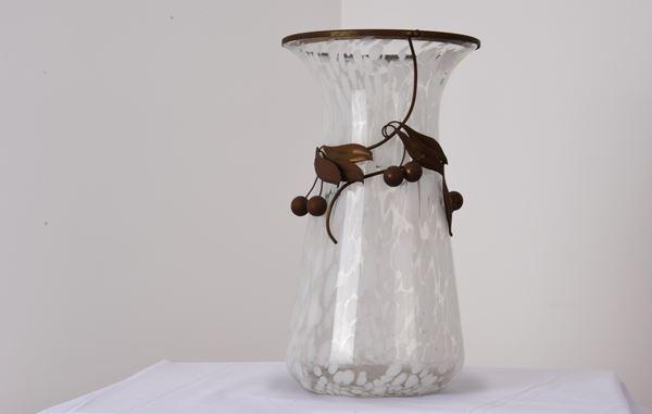 Vaso in vetro e ottone